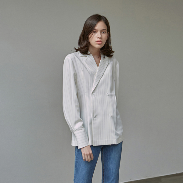 STRIPE DOUBLE BLOUSE JACKET_IVORY