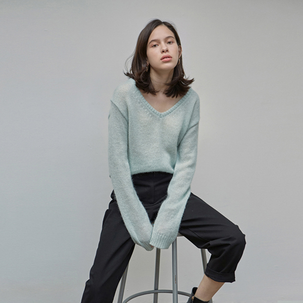 LOOSE-FIT MOHAIR KNIT_MINT