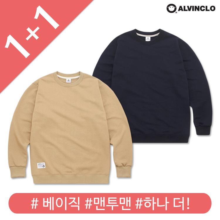 [앨빈클로]MAR-710 3단쭈리 루즈핏 무지 맨투맨 티셔츠 1+1