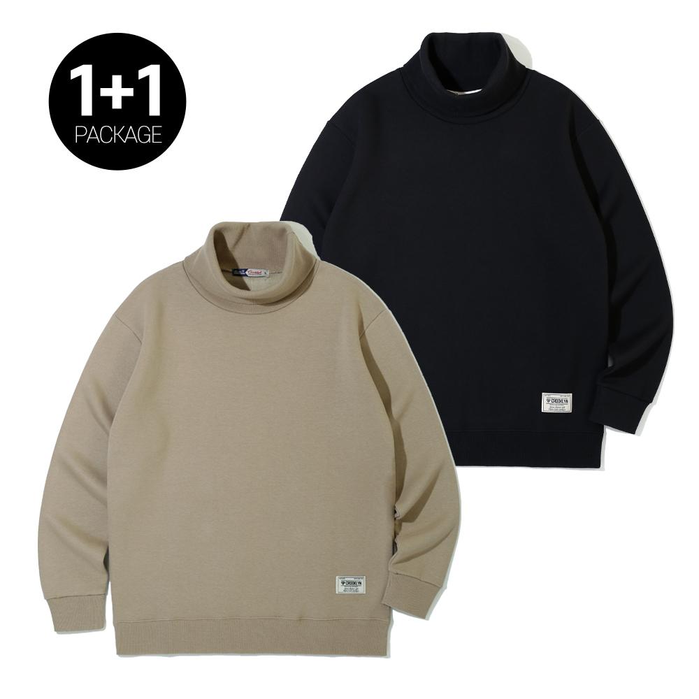 [크루클린] MRL-435 무지 목폴라 맨투맨 티셔츠 1+1