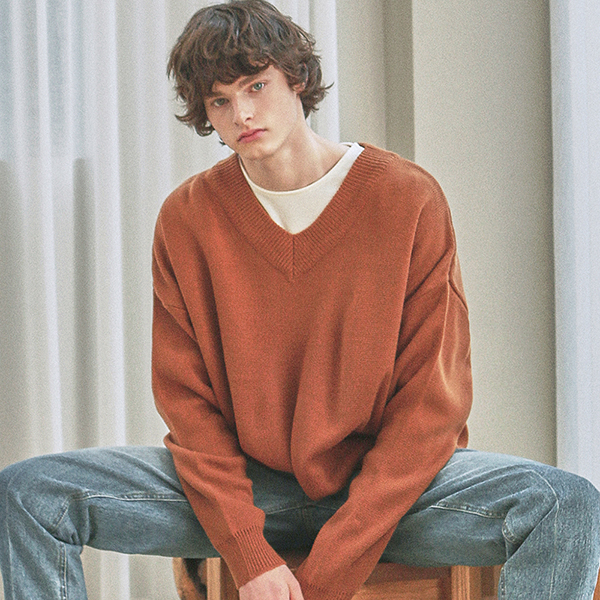 OVER Y NECK LONG KNIT_CAMEL