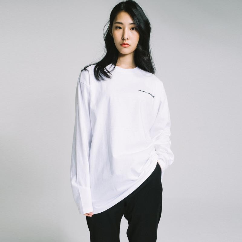 basic small logo long sleeve tee White