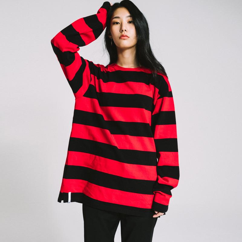 basic stripe long sleeve tee Red