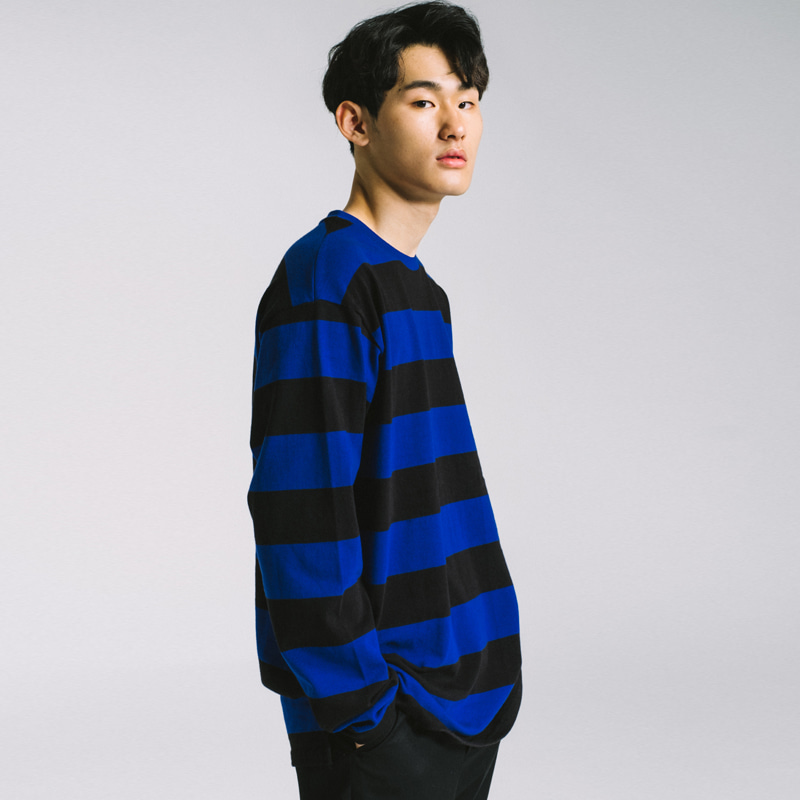 basic stripe long sleeve tee Blue