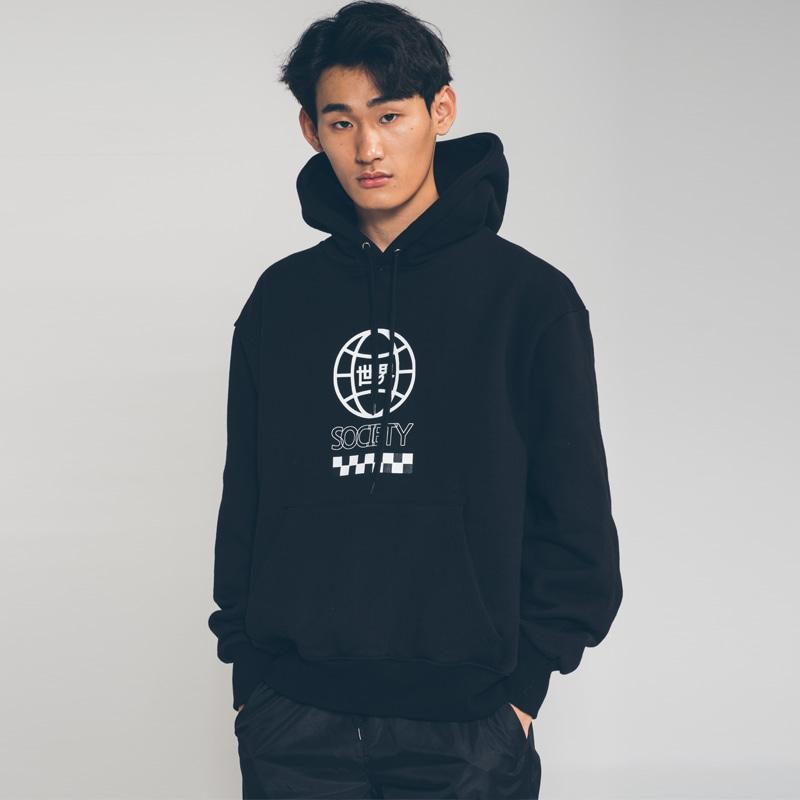 society globe hoody Black