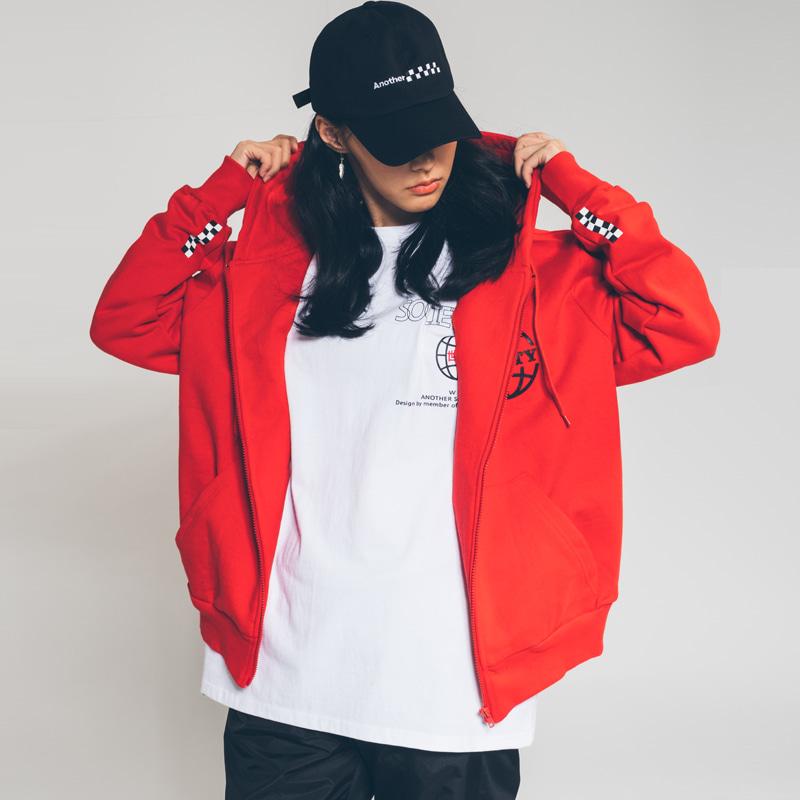 society globe zip hood Red