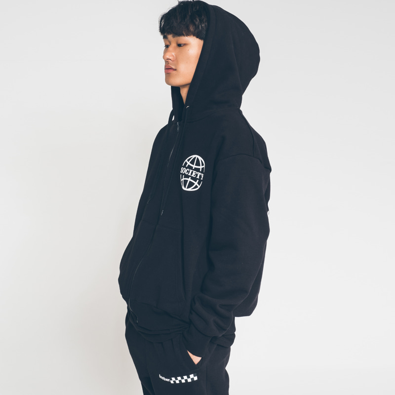 society globe zip hood black