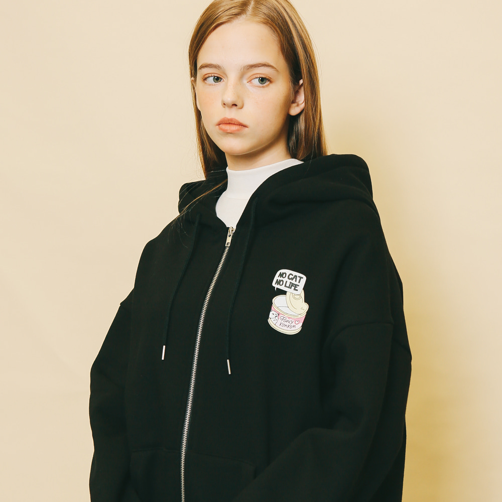 FANCY RONRON HOOD ZIP-UP BLACK