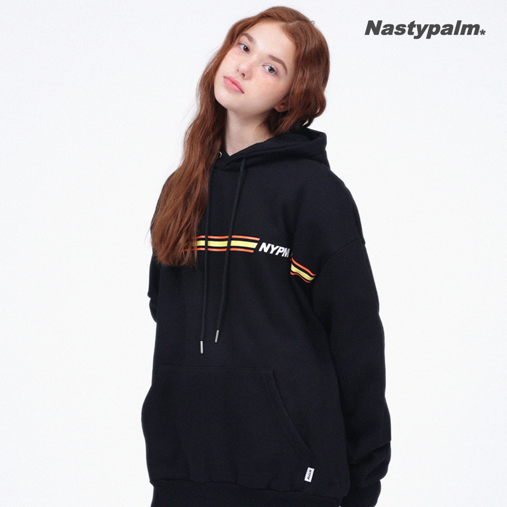 [신데렐라세일] 3TONE 라인 로고 후드티셔츠 블랙/옐로우