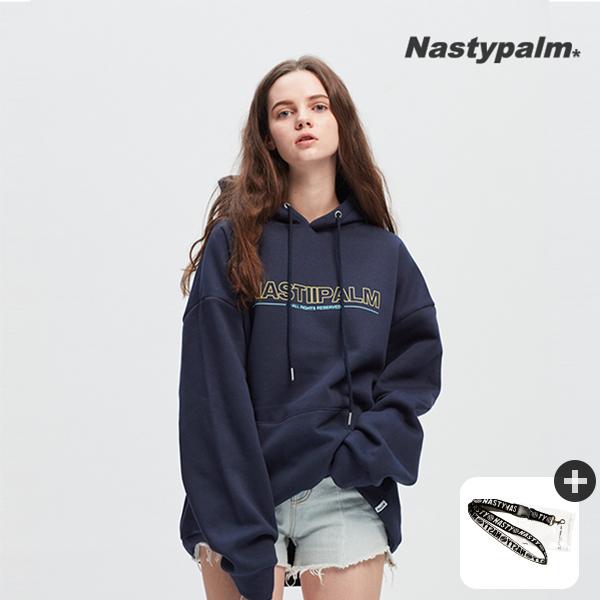 [신데렐라세일] 아웃라인 로고 시그니처 후드티셔츠 네이비