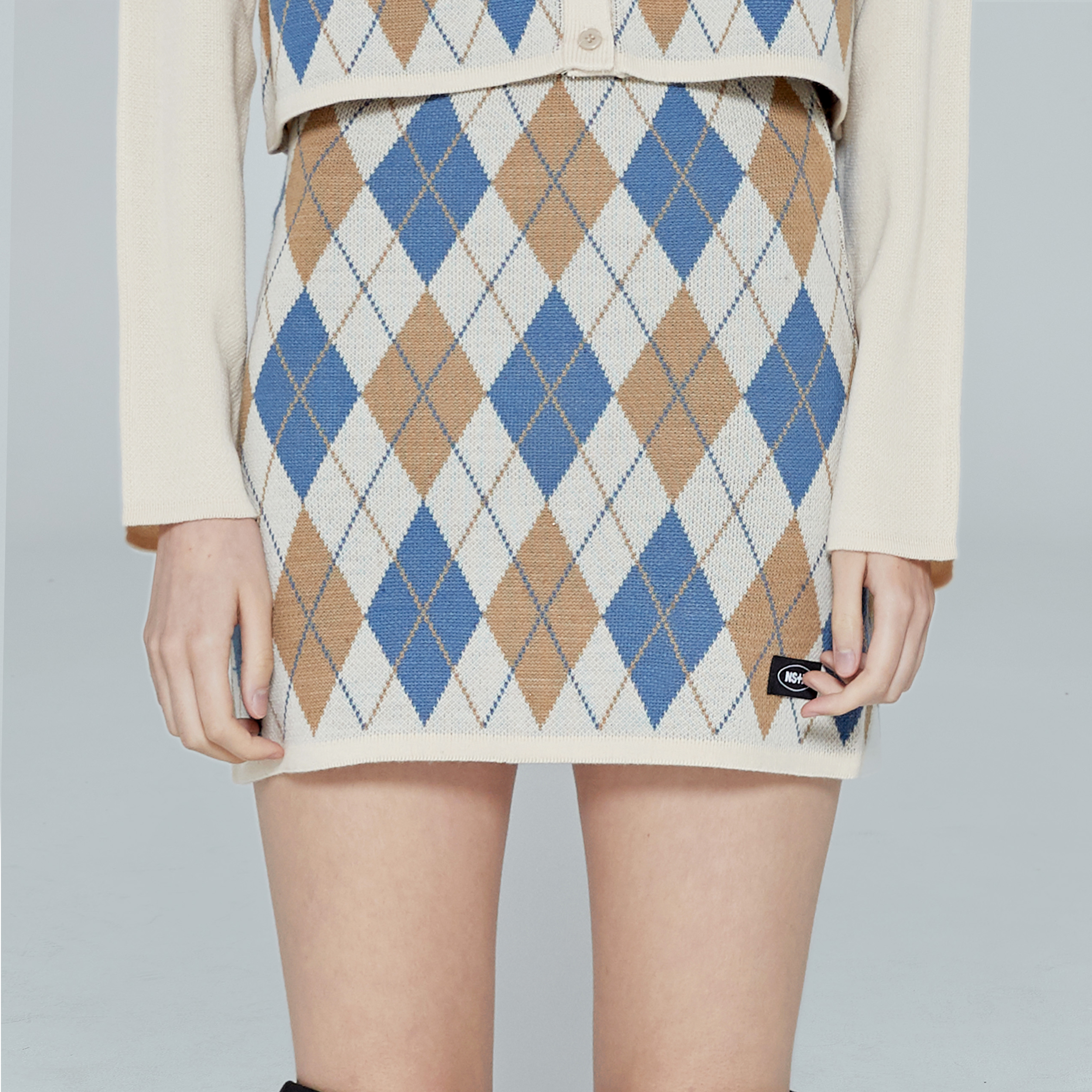 [NF] FANCY ARGYLE MINI SKIRT (IVORY)(19FW-F703)