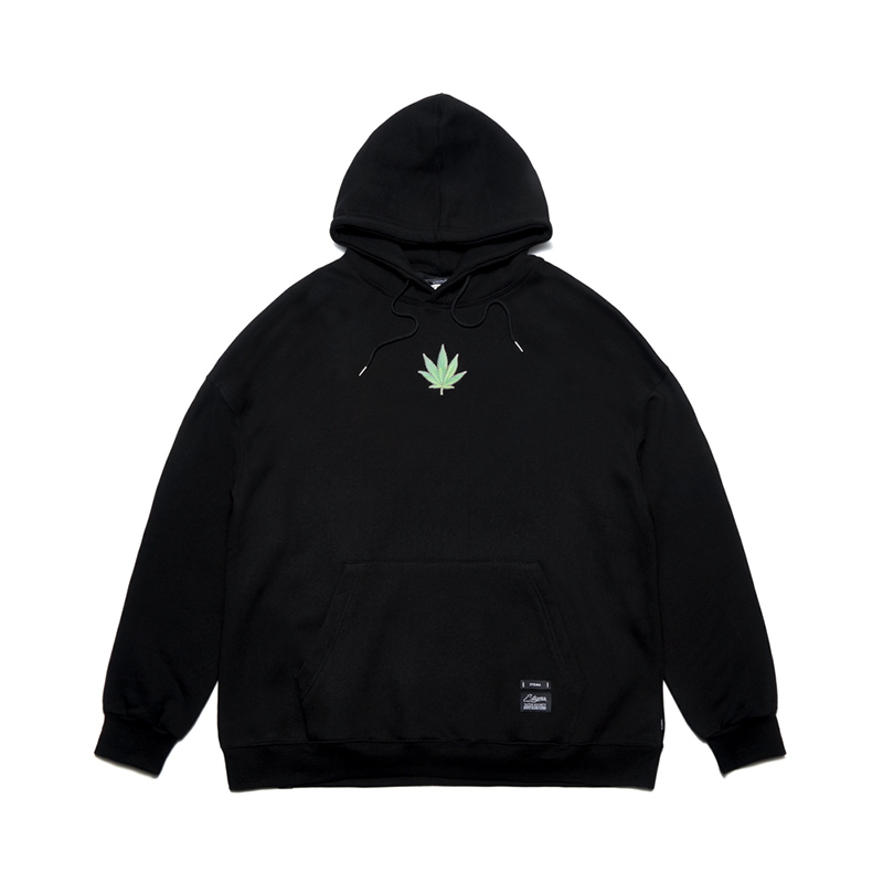 STIGMA LEAF OVERSIZED HEAVY SWEAT HOODIE BLACK
