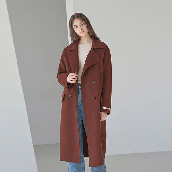 WOOL DOUBLE LONG COAT_RED BROWN