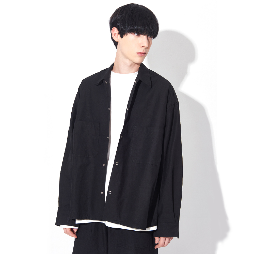[UNISEX]OSD BASIC WIDE OVERFIT SHIRTS(BLACK)