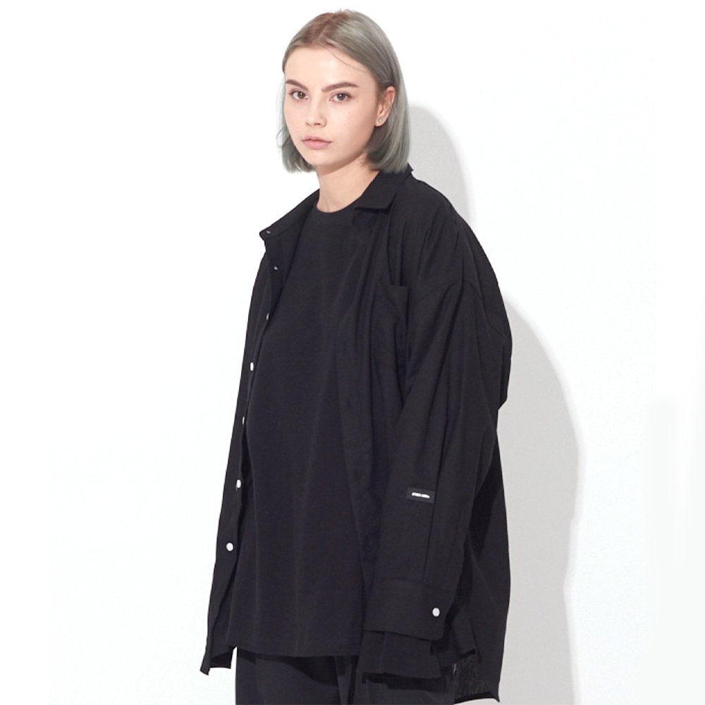 [UNISEX]OSD BASIC PATCH LINEN SHIRTS(BLACK)
