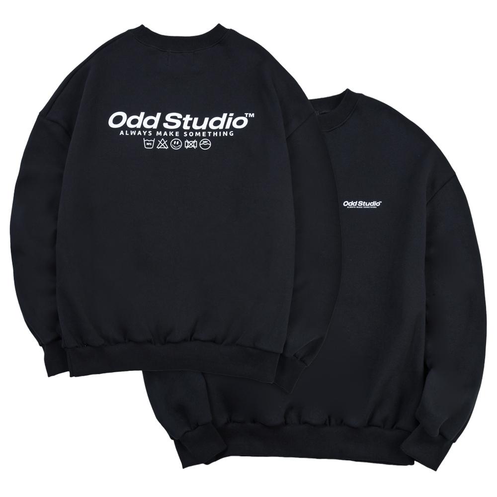 [사은품 증정] 오드스튜디오 베이직 맨투맨 티셔츠 - BLACK