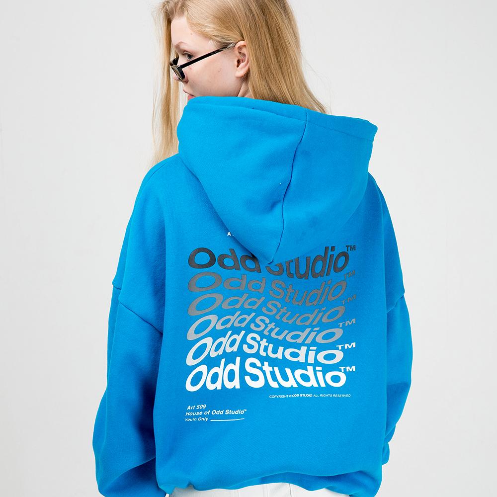 오드스튜디오 웨이브 후드 티셔츠 - BLUE