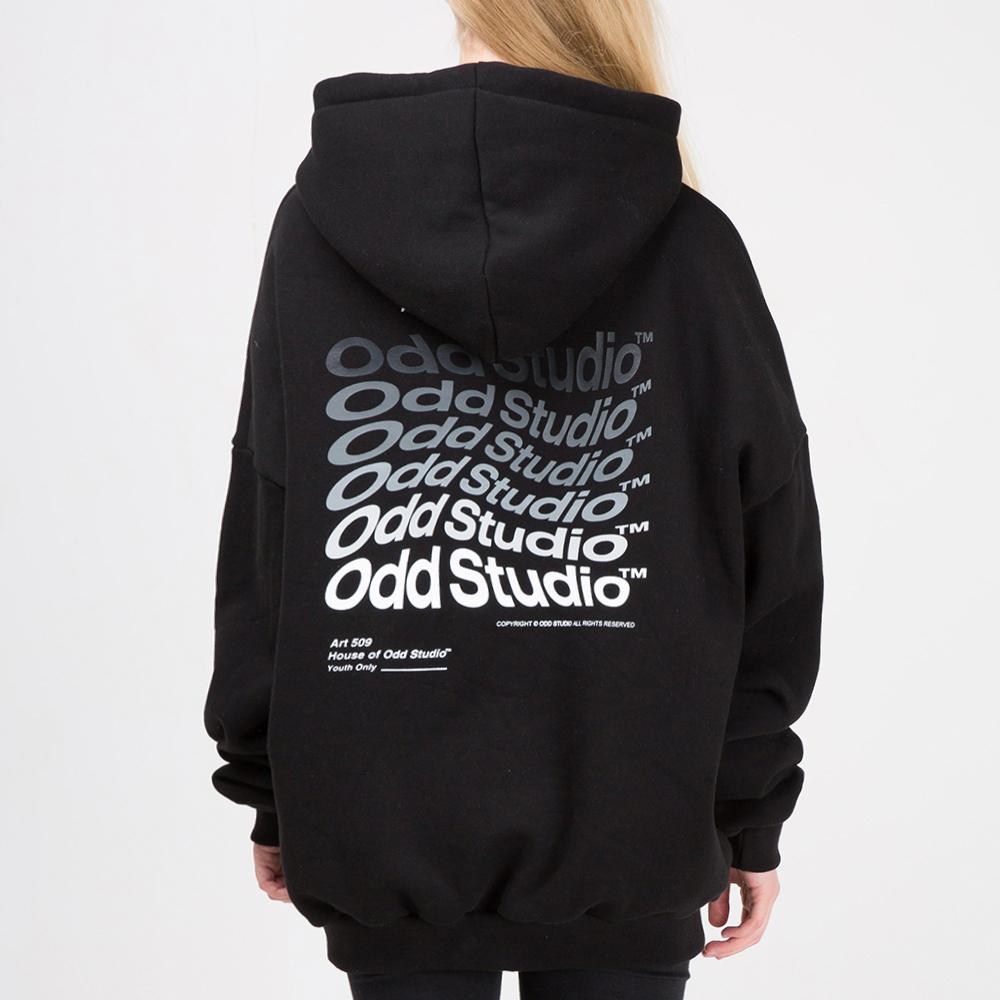 오드스튜디오 웨이브 후드 티셔츠 - BLACK