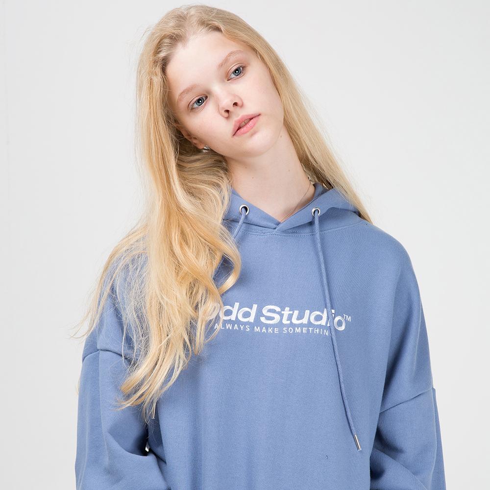 오드스튜디오 스탠다드 자수 로고 후드 - DUST BLUE