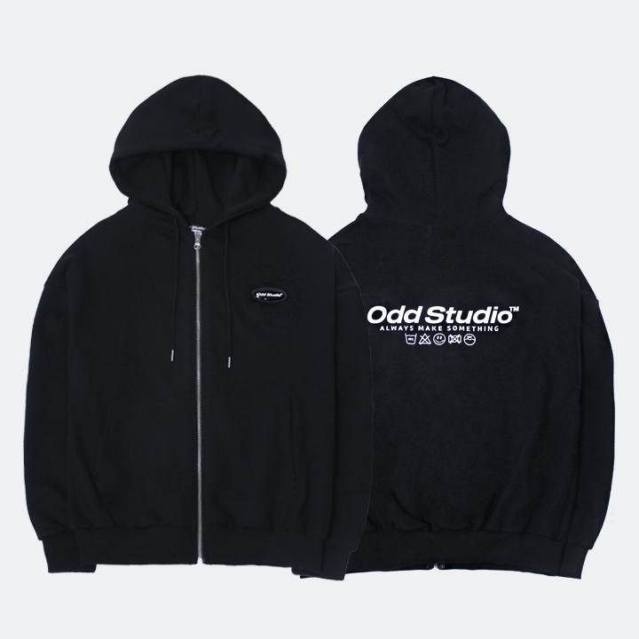 오드스튜디오 스탠다드 집업 로고 티셔츠 - BLACK