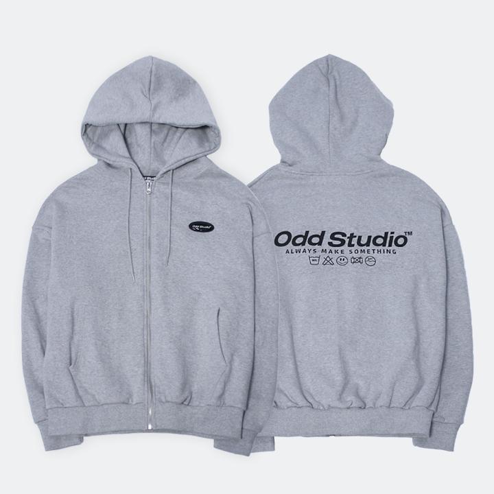 [사은품 증정] 오드스튜디오 스탠다드 집업 로고 티셔츠 - GRAY