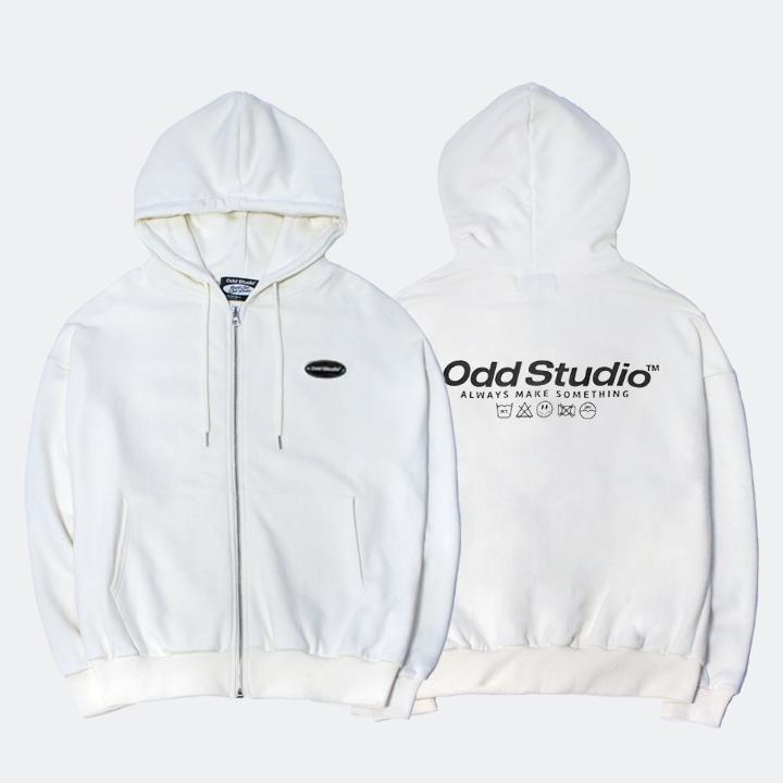 오드스튜디오 스탠다드 집업 로고 티셔츠 - CREAM