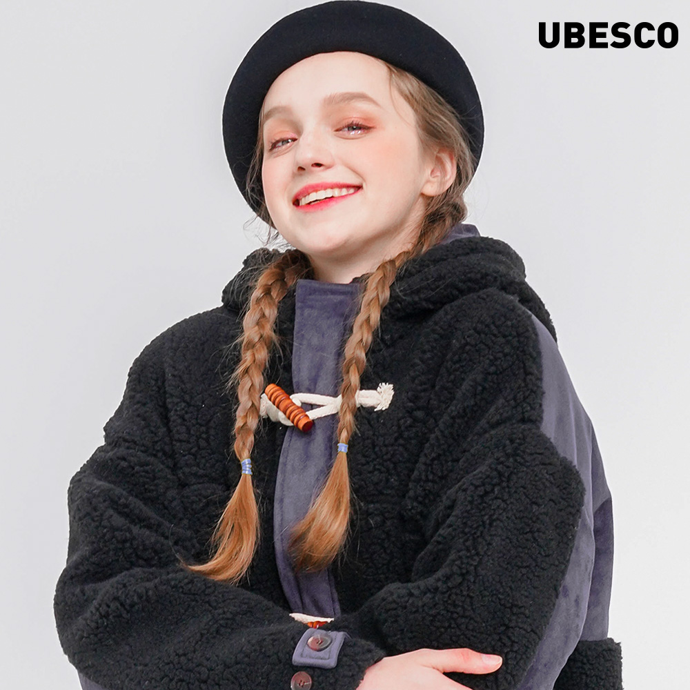 [유베스코]클라우드 양털 롱 코트 블랙 MSOT8054