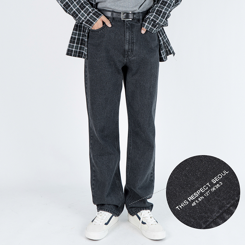 Thisrespect semi wide fit washed denim deep gray (TRP0009)