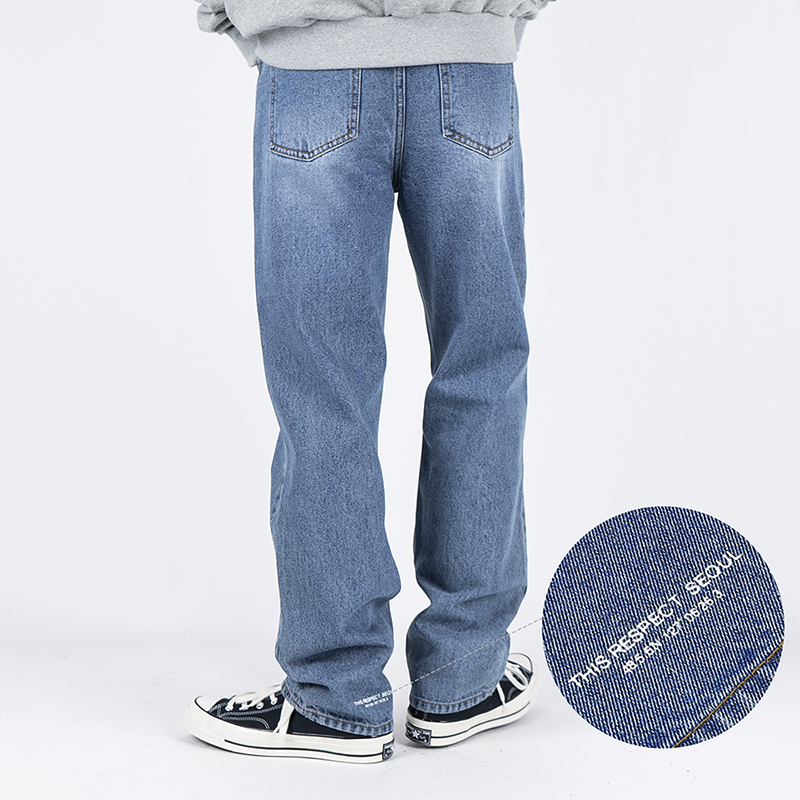 Thisrespect semi wide fit washed denim mid blue (TRP0007)