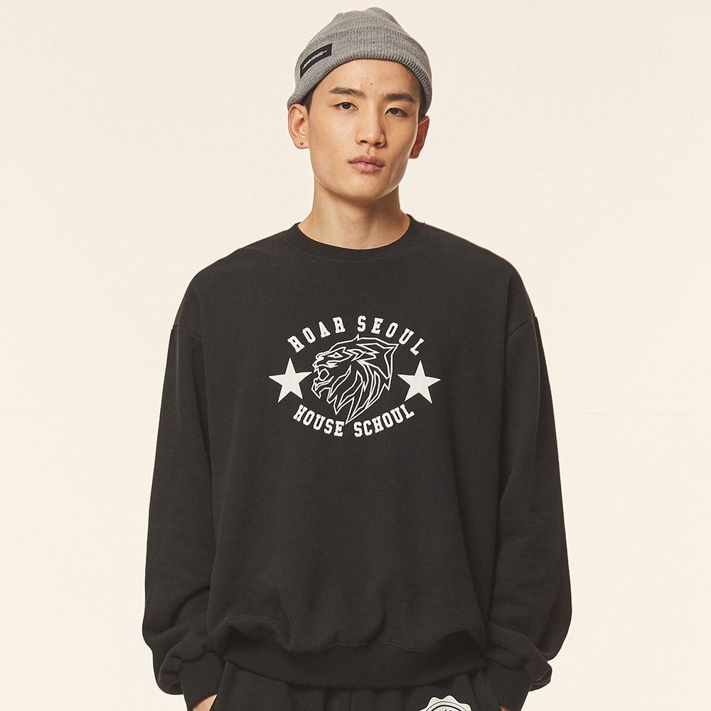 로어서울 유니섹스 라이온 오버사이즈 기모 스웨트 셔츠(블랙)