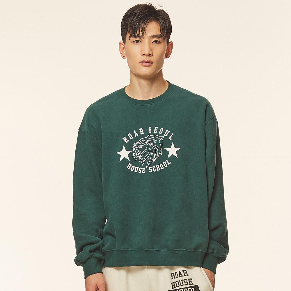 로어서울 유니섹스 라이온 오버사이즈 기모 스웨트 셔츠(그린)