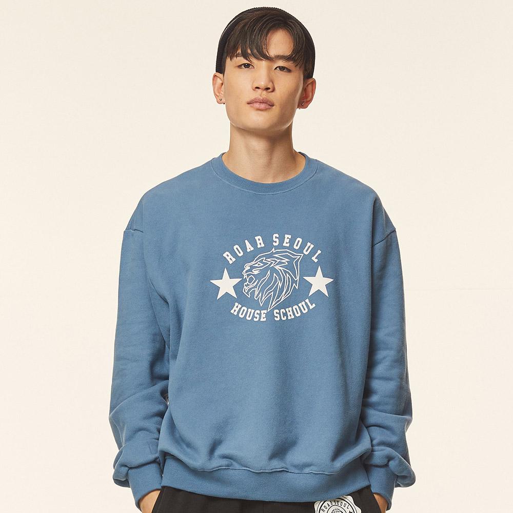 로어서울 유니섹스 라이온 오버사이즈 기모 스웨트 셔츠(스카이블루)