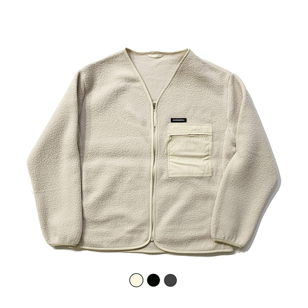 파이핑 플리스 노칼라 재킷 PIPING FLEECE NO COLLAR JACKET(3color)