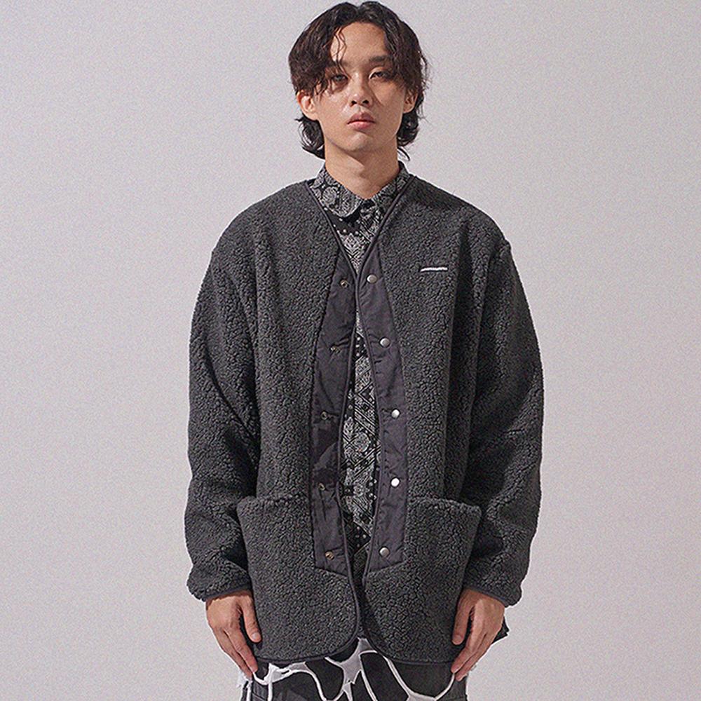 시어링 노 칼라 재킷 SHEARLING NO COLLAR JACKET(2color)