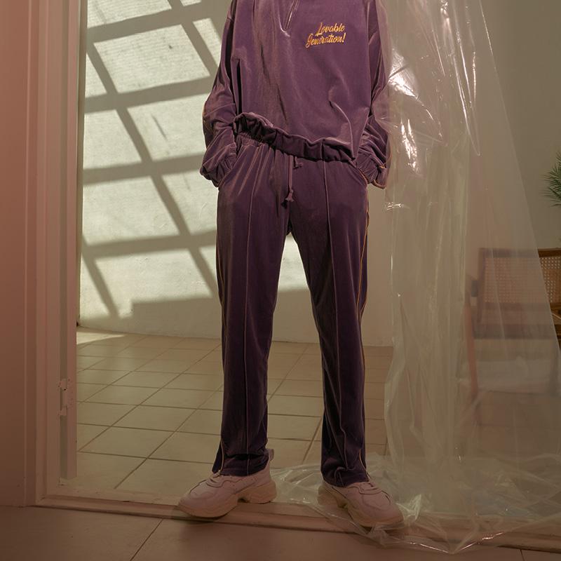 LOV.G 벨벳 트랙 팬츠 violet