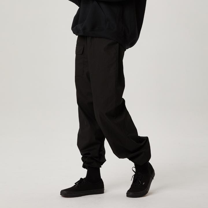 WIDE FIT COTTON PANTS (BLACK)