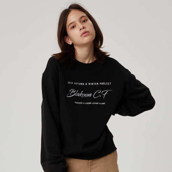 HANDWRITING NEEDLEWORK SWEATSHIRTS (BLACK)