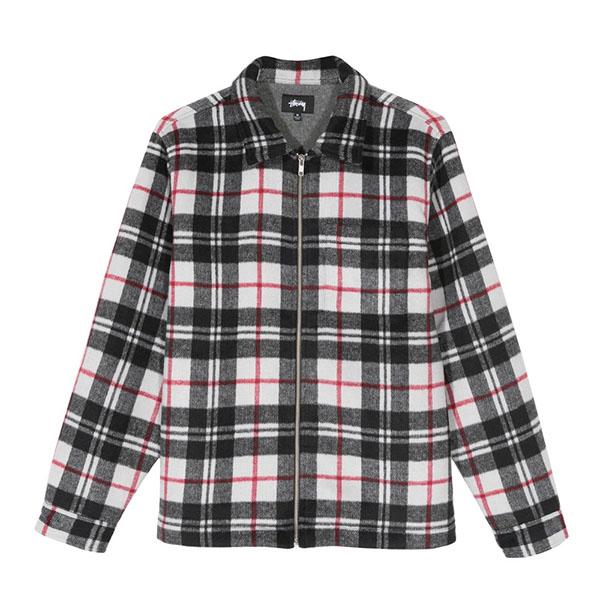 [해외]스투시 브러쉬 플라넬 집 롱 슬리브 셔츠 블랙