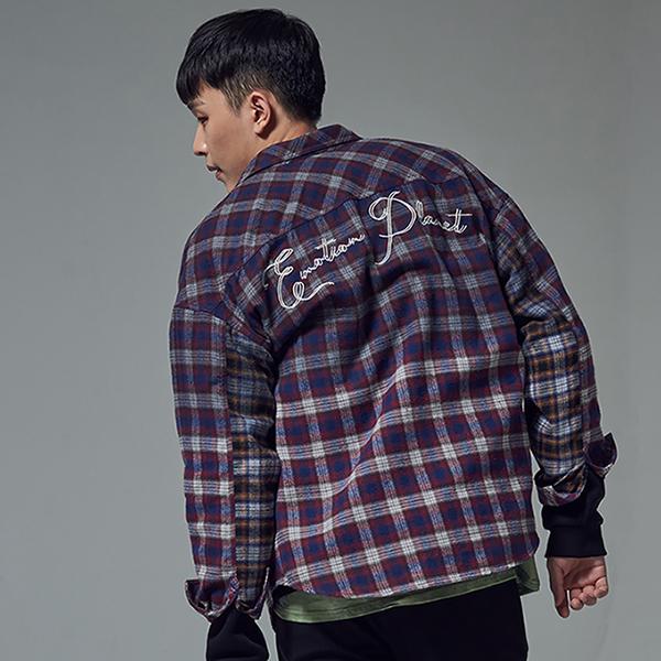 [단독할인]오버 다잉 체크 플란넬 셔츠 RED