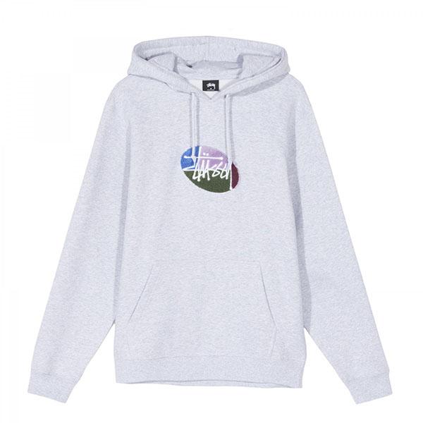 [해외]스투시 OVAL 로고 후드 티셔츠 에쉬