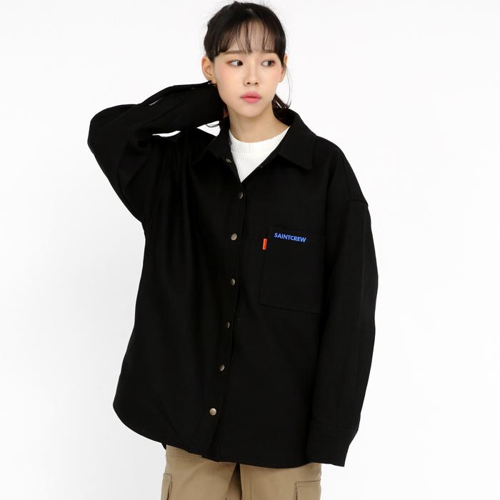 세인트크루 헤비하드코튼 오버라운드핏 셔츠자켓 블랙