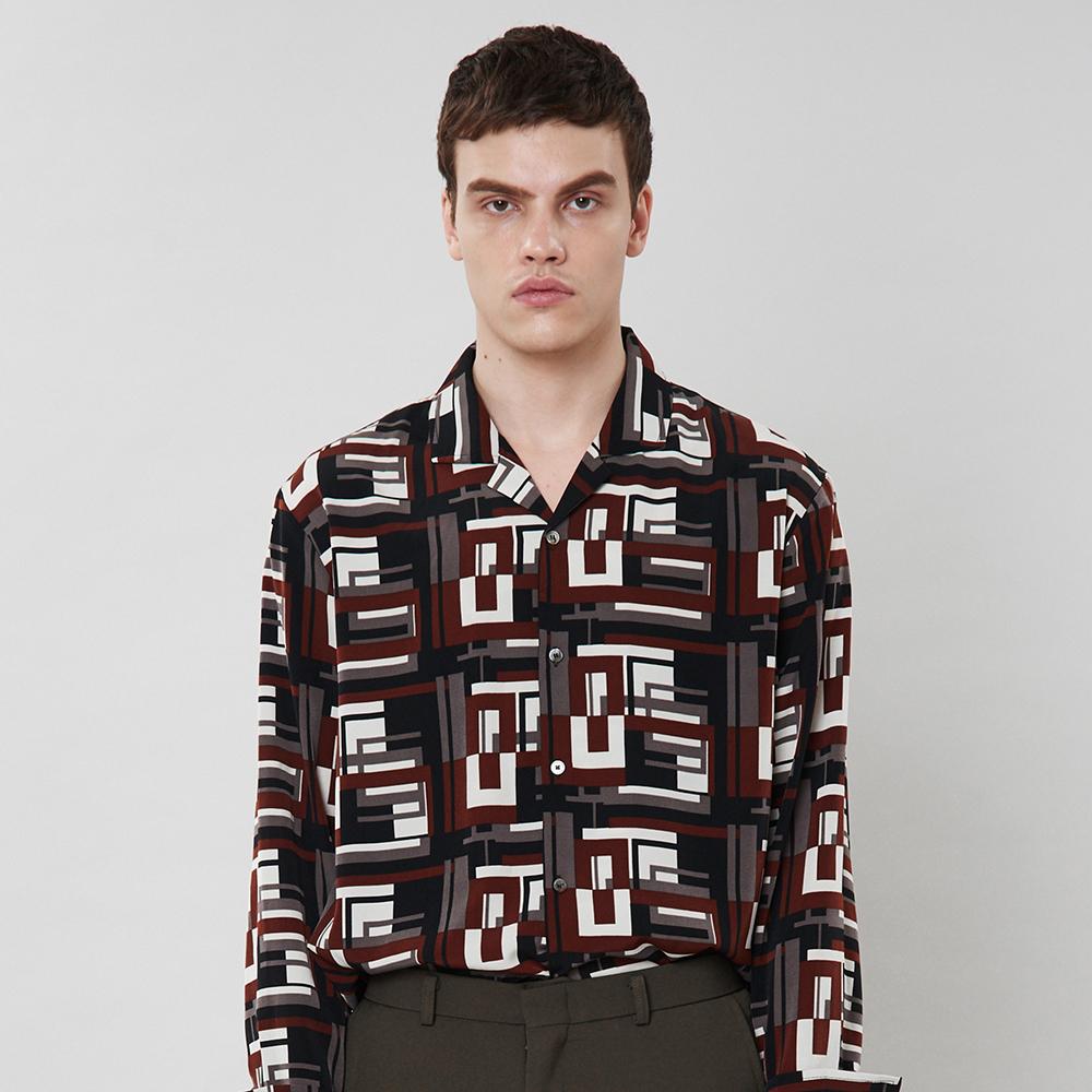 [입점특가]버건디 패턴 셔츠