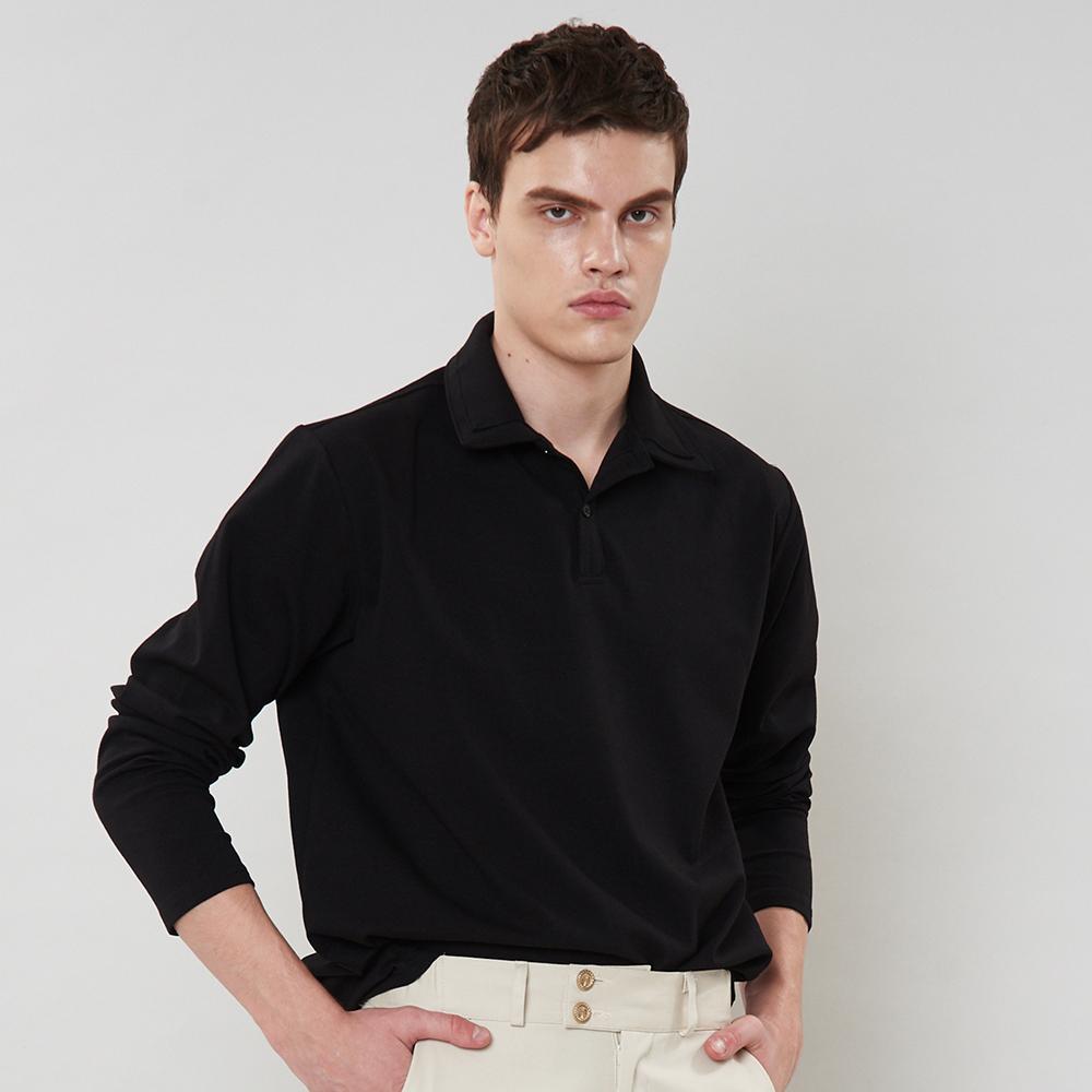 [입점특가]블랙 더블 카라 피케이티셔츠