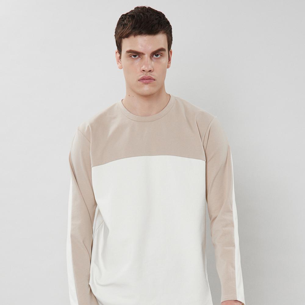 [입점특가]아이보리 투톤 티셔츠