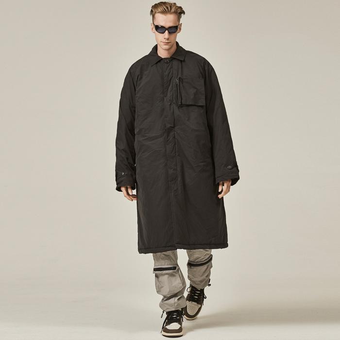 [데드엔드] BLACK POCKET DOCKING PADDED LONG COAT