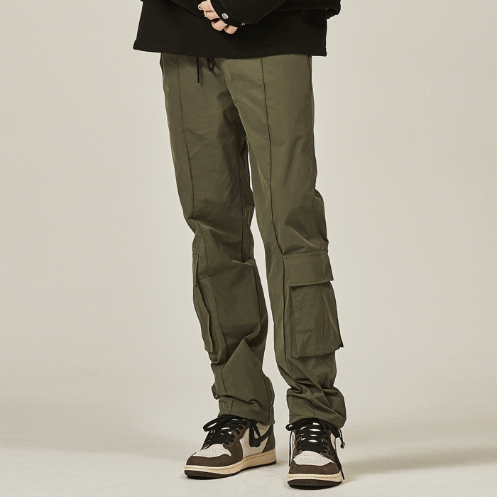 [데드엔드] KHAKI PINTUCK CARGO STRING PANTS