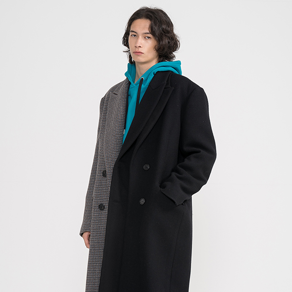 DOUBLE LAPEL COAT_BK