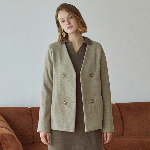 [DEANS] GRID HALF DOUBLE JACKET_BEIGE