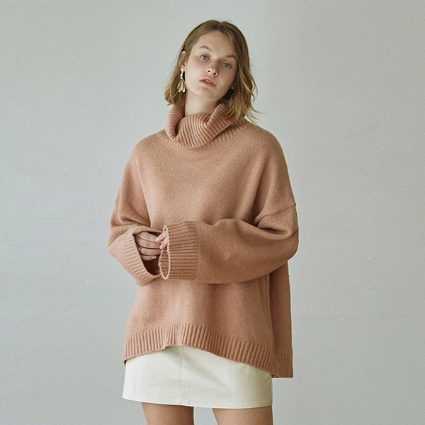 [DEANS] OVER TURTLE LONG SWEATER_PINK