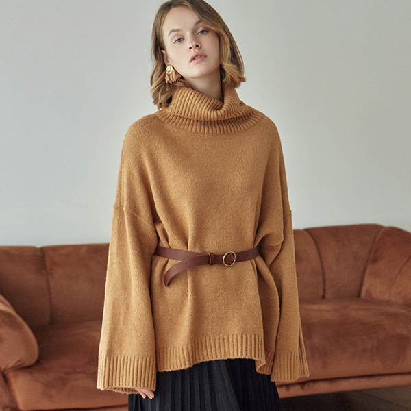 [DEANS] OVER TURTLE LONG SWEATER_CAMEL